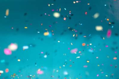 colorful confetti on teal