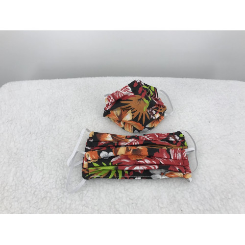 Cotton Face Mask in Red Hawaii